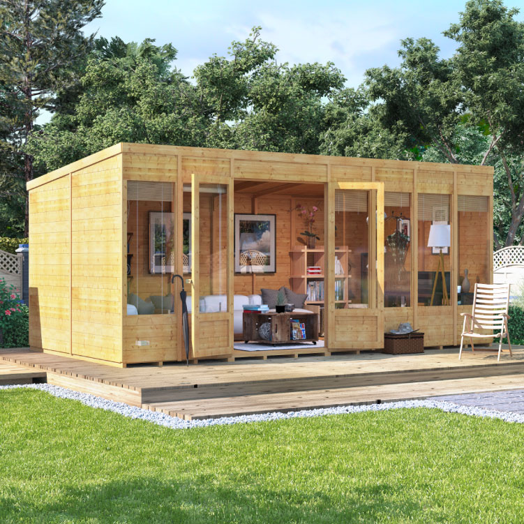Image of 16 x 8 BillyOh Bella Tongue and Groove Pent Roof Garden Summerhouse