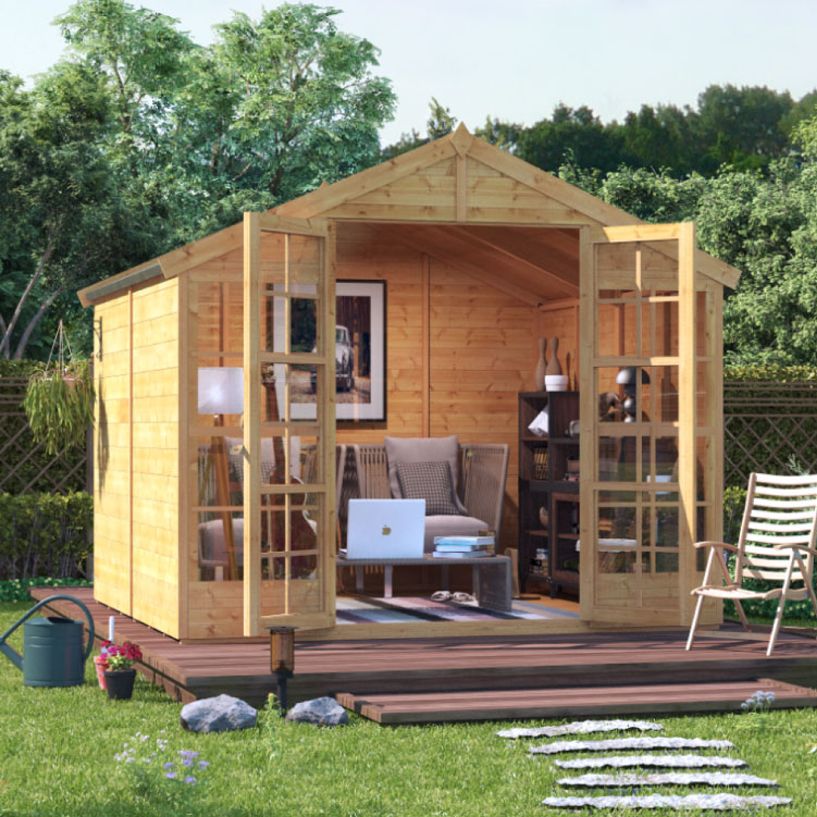 Image of 8 x 8 BillyOh Harper Tongue and Groove Apex Roof Garden Summerhouse