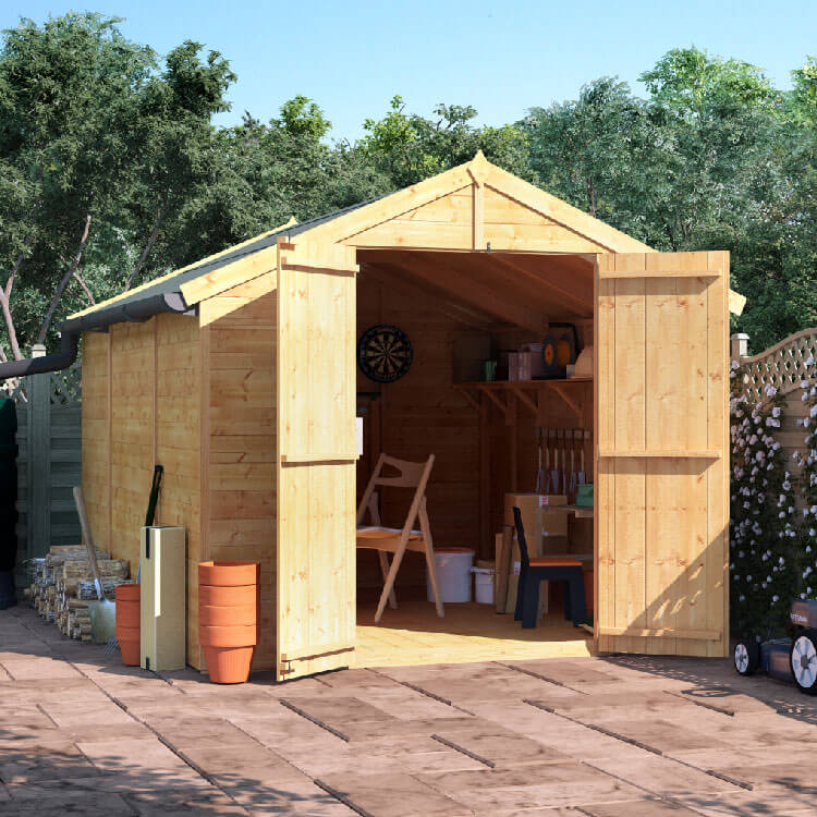 BillyOh 10x8 Master Tongue and Groove Apex Windowless Double Door Shed including Floor, Roof, Felt
