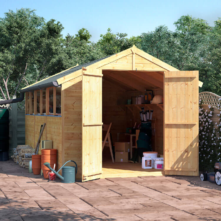 BillyOh 12x8 Master Tongue and Groove Apex Windowed Double Door Shed including Floor, Roof, Felt