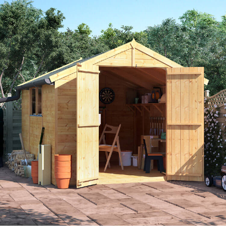 BillyOh 10x8 Master Tongue and Groove Apex Windowed Double Door Shed including Floor, Roof, Felt