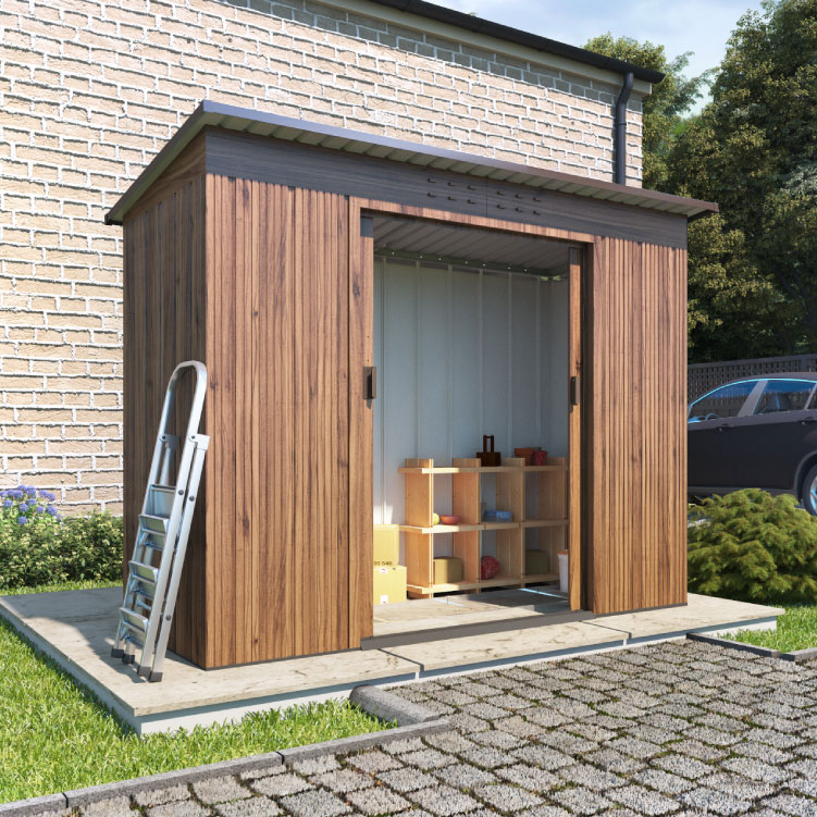 https://www.gardenbuildingsdirect.co.uk/images/products/18980/maingallery/partner_woodgrain_pent_roof_metal_shed_l01.jpg