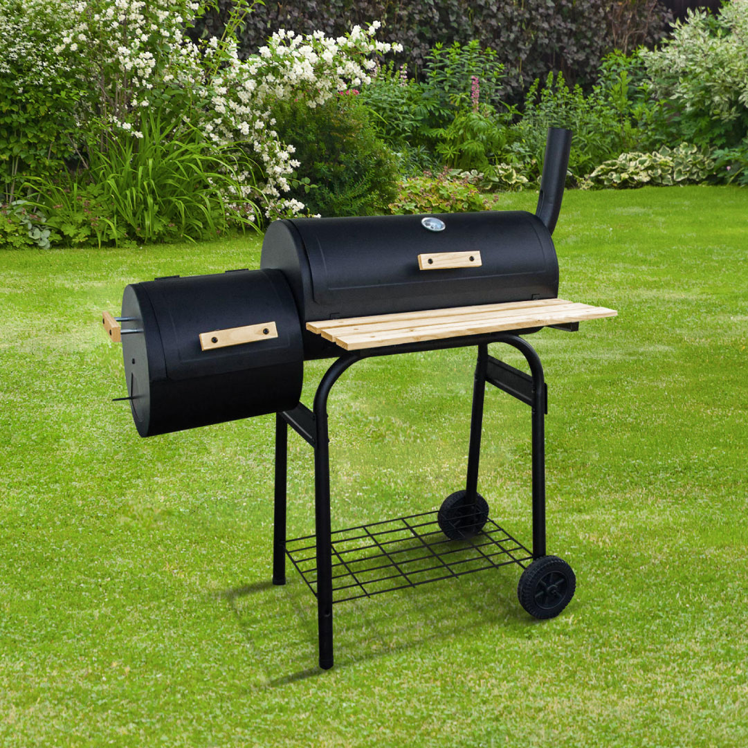Image of BillyOh Full Drum Charcoal BBQ with Offset Smoker - Portable Full Drum