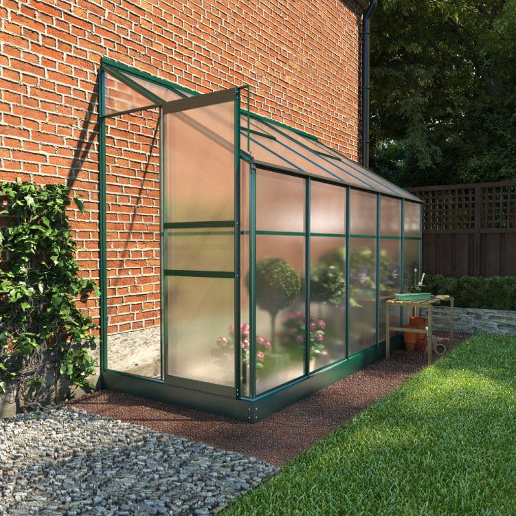 BillyOh Polycarbonate Lean-To Greenhouse - 4x8 Green