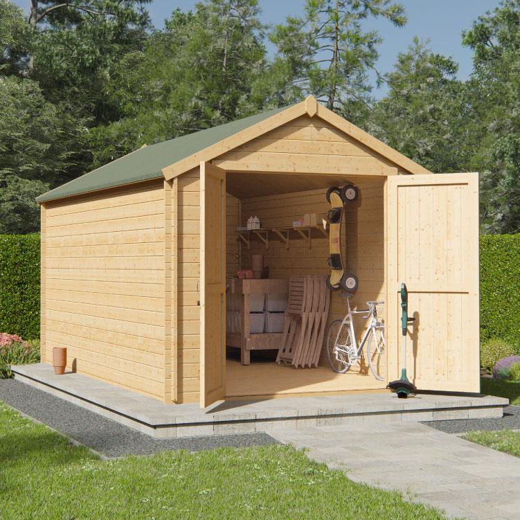 BillyOh Pro Apex Log Cabin - W2.4m x D3.9m - 19mm Tongue & Groove Walls & Wide Door