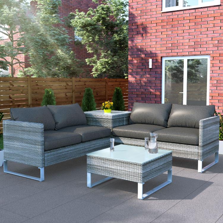 BillyOh Salerno 4 Seater Outdoor Rattan Garden Furniture Corner Sofa Set With Storage  - 4 Seater
