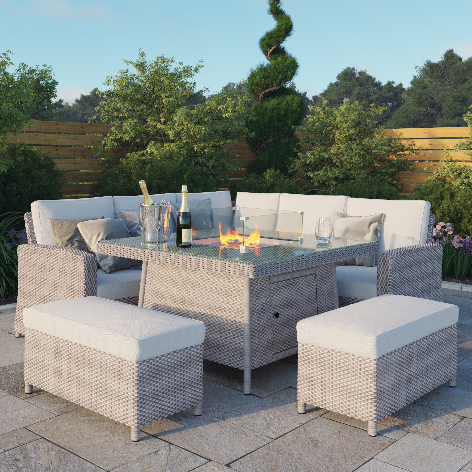 BillyOh Capri Rattan Garden Corner Sofa Set with Firepit Table - L-Shaped Rattan With 2 Benches and Firepit