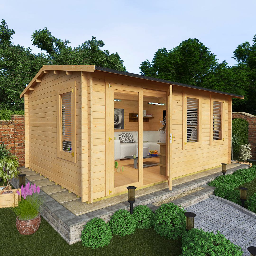 Billyoh 5 0 x 3 5 35mm devon garden log cabin garden for Garden sheds and garages