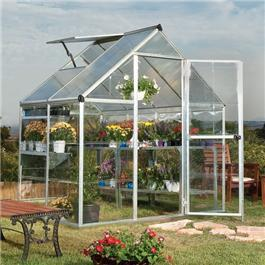 Image of BillyOh 3000S Easy Fit Aluminium Silver Greenhouse with Base and Opening Vent - 6 x 6 Silver Aluminium Greenhouse