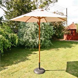 Sturdi Parasols - 2m Hardwood Frame Garden Parasol - Natural
