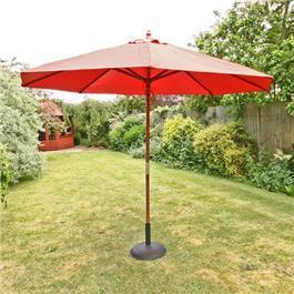 Sturdi 3m Hardwood Frame Garden Parasol - Terracotta