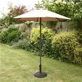 2m Sturdi Plus Aluminium Push Up Garden Parasol - Taupe