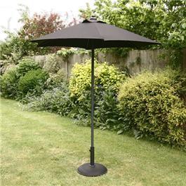 2m Sturdi Plus Aluminium Push Up Garden Parasol - Black