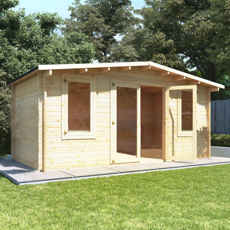 5 x 3 Log Cabin - BillyOh Fraya Pent Log Cabin - 44mm Thickness Wooden Log Cabin - 5m x 3m