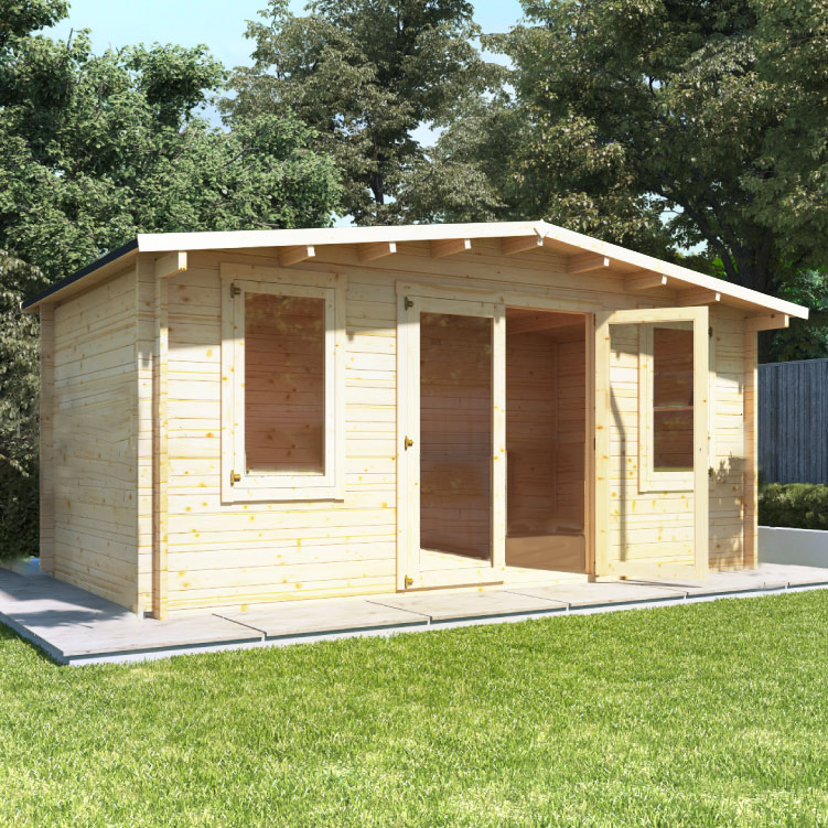 5 x 3 Log Cabin - BillyOh Fraya Pent Log Cabin - 28mm Thickness Wooden Log Cabin - 5m x 3m