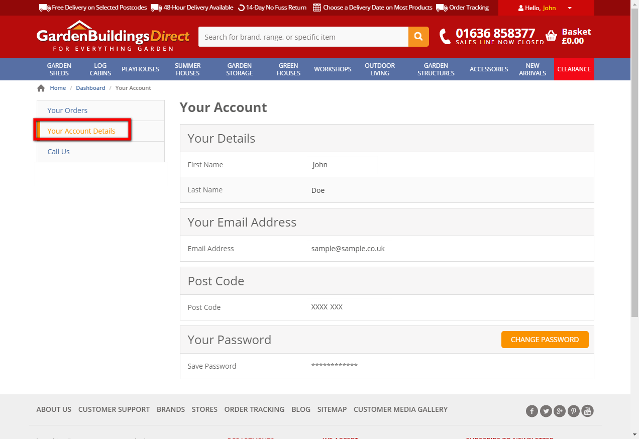 View your account details (PS Remove Chat Us, change customer name)